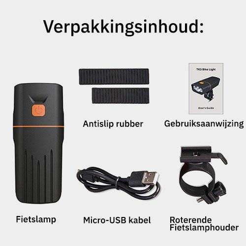 Verpakkingsinhoud Fietslamp mtb voorlicht beam 1500 XL met ingebouwde powerbank