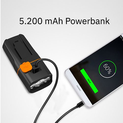 Lightyourbike powerbank voorlicht MTB BEAM 1500 XL